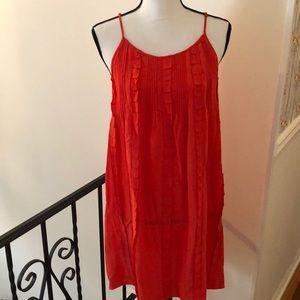 Joie sun burst orange silk ruffle slip dress